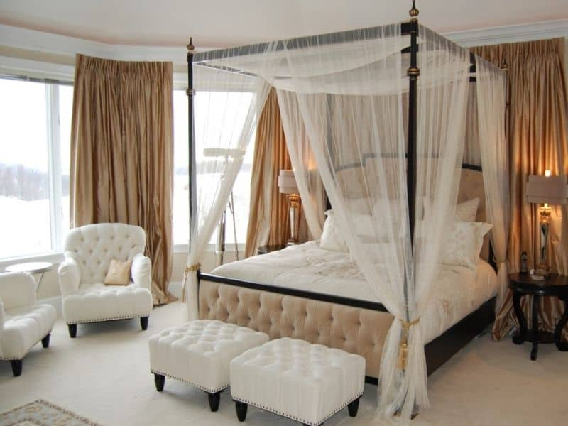 these elegant canopy beds create a castle-like atmosphere and enhance  modern bedroom designs with classic furniture, associated with royalty.